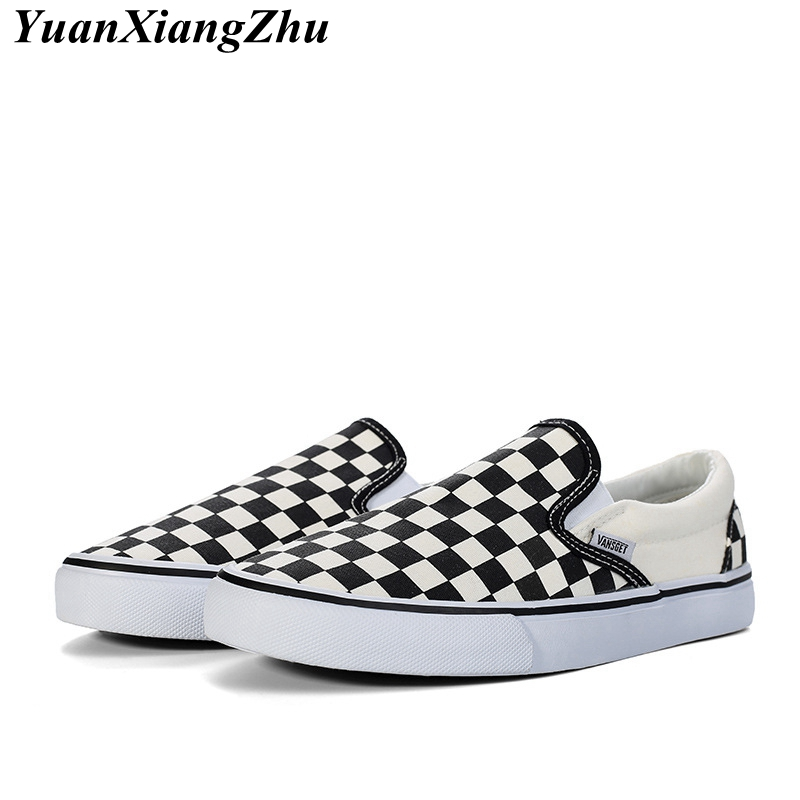 Fashion Canvas Shoes Woman Loafers Brand Women Casual Shoes Black White Plaid Comfortable Slip On Flat Women's Shoes Size 35-44(China)