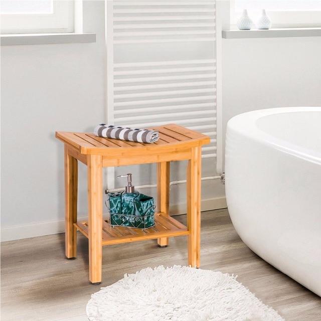 Modern Shower Stool Bench White Teak