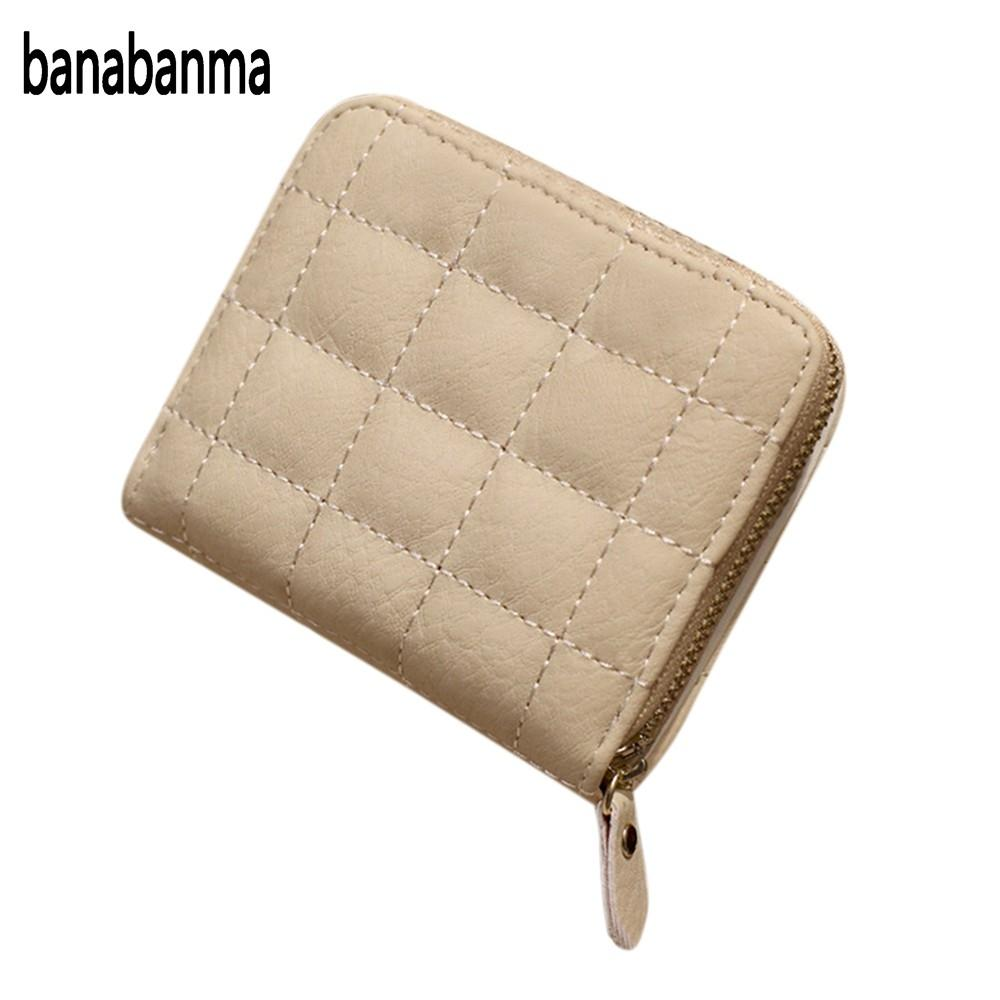 banabanma Women's Lattice Thread Synthetic Leather Credit Card Holder Short Multi-card Bifold Wallet Purse Christmas Hot sell Z5