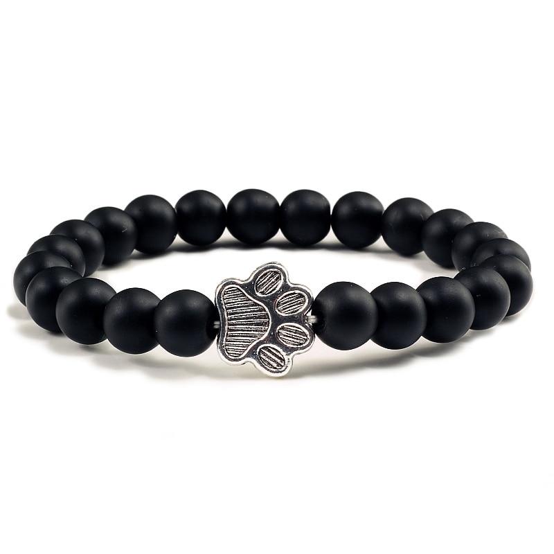 Natural Matte Black Lava Volcanic Stone Paw Print Charm Bracelet Homme Femme Pet Memorial Cat Dog Lovers Jewelry Bracelets Gifts 3