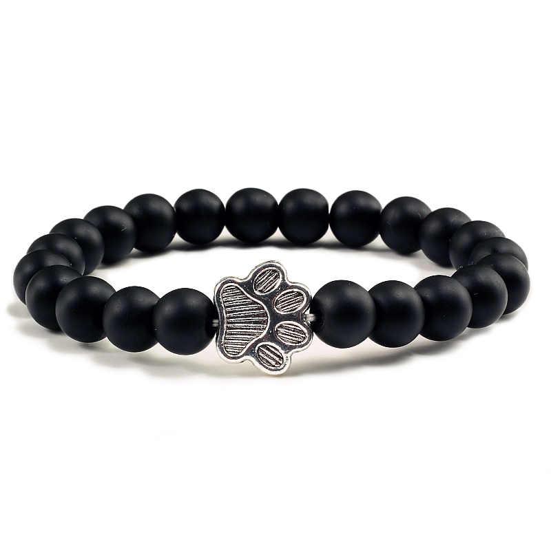 Natural preto fosco lava vulcânica pedra pata impressão charme pulseira homme femme pet memorial gato amantes do cão jóias pulseiras presentes