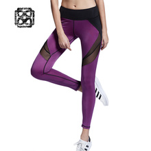 Sexy see-through Fitness Women yoga Leggings Patchwork Compression pants running tights sport