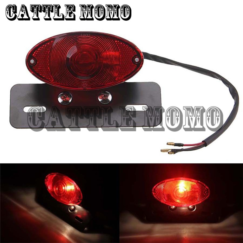 Motorcycle License Plate Rear Tail Light Bracket Fit For Harley Sporster Softail Dyna Taillight Scooter Brake Light Red