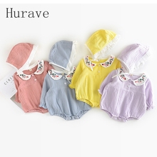 Hurave 2017 new Girl Clothing Sets Fashion Kids Clothes Baby Girl Romper + Hat Children Sets Summer Suits