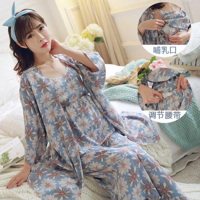 86b9f3982b6d8 Spring Autumn Maternity Clothes Nursing Pajama Set 3 Pieces Winter Maternty Sleepwear  Breastfeeding Clothes Pregnant Women