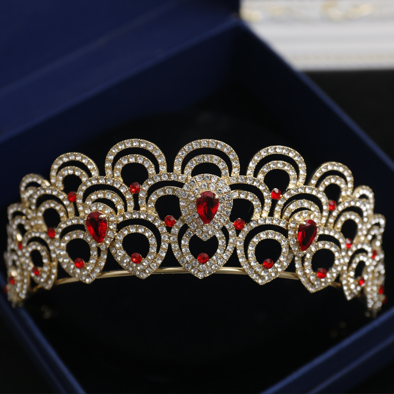 Baroque Blue Red Crystal Bridal Hair Crowns Bride Headband Vintage Gold Rhinestone Pageant Prom Crown Wedding Hair Accessories