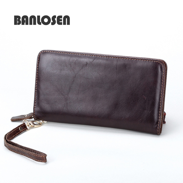Hot! 2016 New Vintage Style Men Wallets Genuine Leather Wallet Famous Brand Clutches Dollar Price Card Holder Wallet