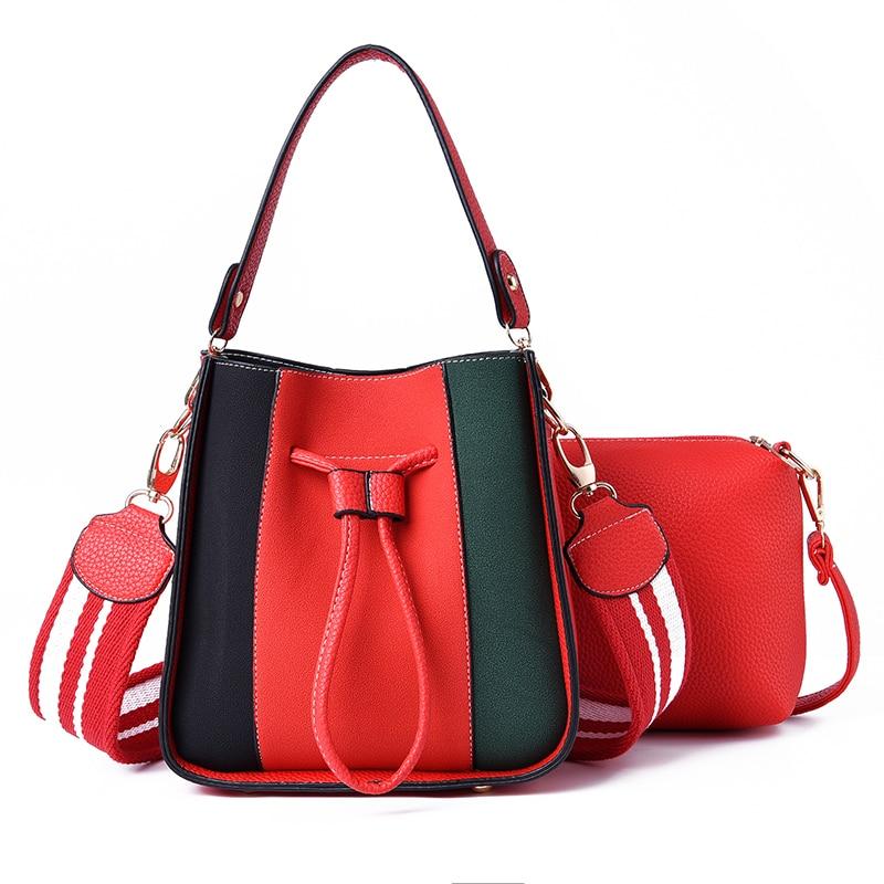 Brand Luxury Handbags 2018 Designer Women Leather Wide Strap Bag Female Shoulder Messenger Bags Bucket Tote shopper Casual bolsa