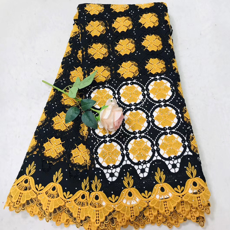 Free shipping (5yards/pc) black and yellow African lace fabric fashion water soluble lace with stones for party dress  WLV03Free shipping (5yards/pc) black and yellow African lace fabric fashion water soluble lace with stones for party dress  WLV03