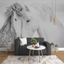 Creative wallpaper Nordic minimalist couple horse background decorative painting professional custom mural photo