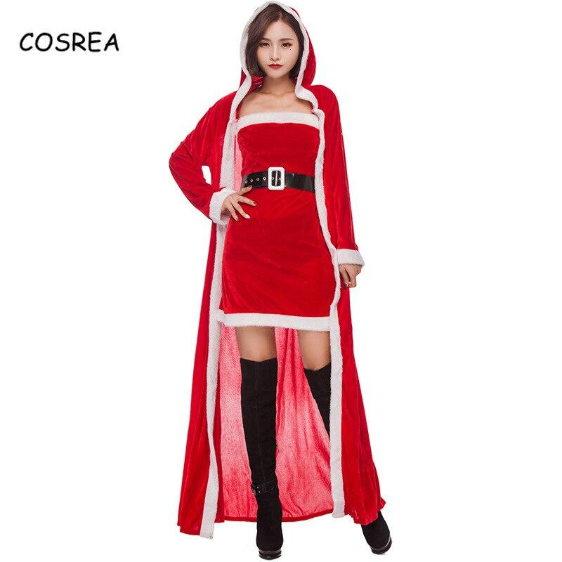 Christmas Santa Costume Velvet Dresses Robes Cloaks Belt Set Uniform for Adults Women Girls Dance Dress cosplay Party Clothes