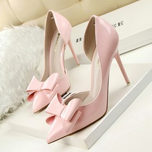 Korean Sweet High-heeled Shoes Pointed Toe sexy Thin Heels Women's Singles Shoes Patent Leather Bow Women Pumps