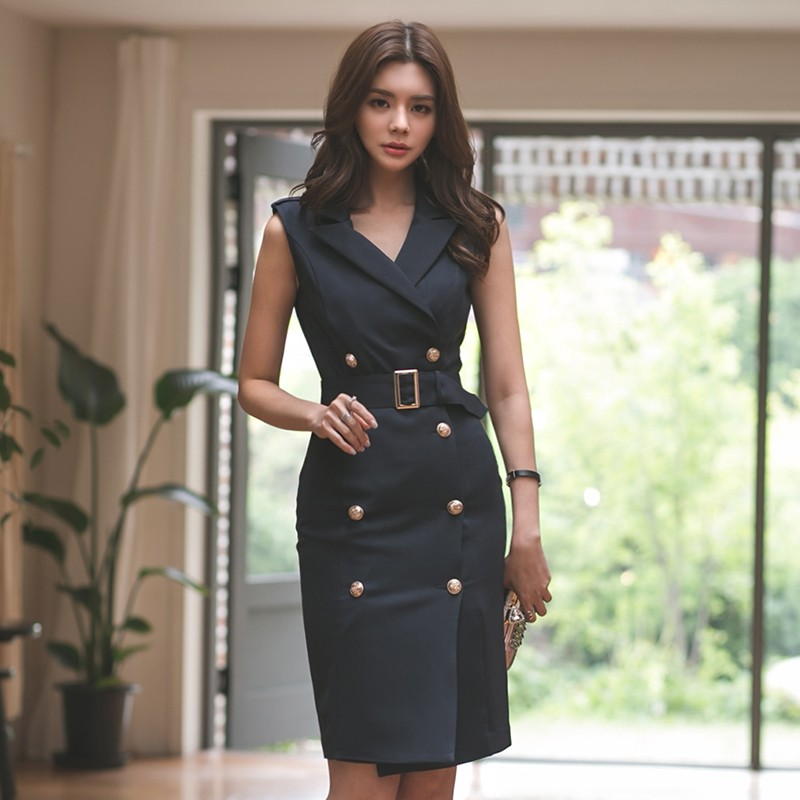 New arrival Runway Women Office Lady Belted Sleeveless dress Work Wear Slim Double Button Sexy korean fashion style Dresses