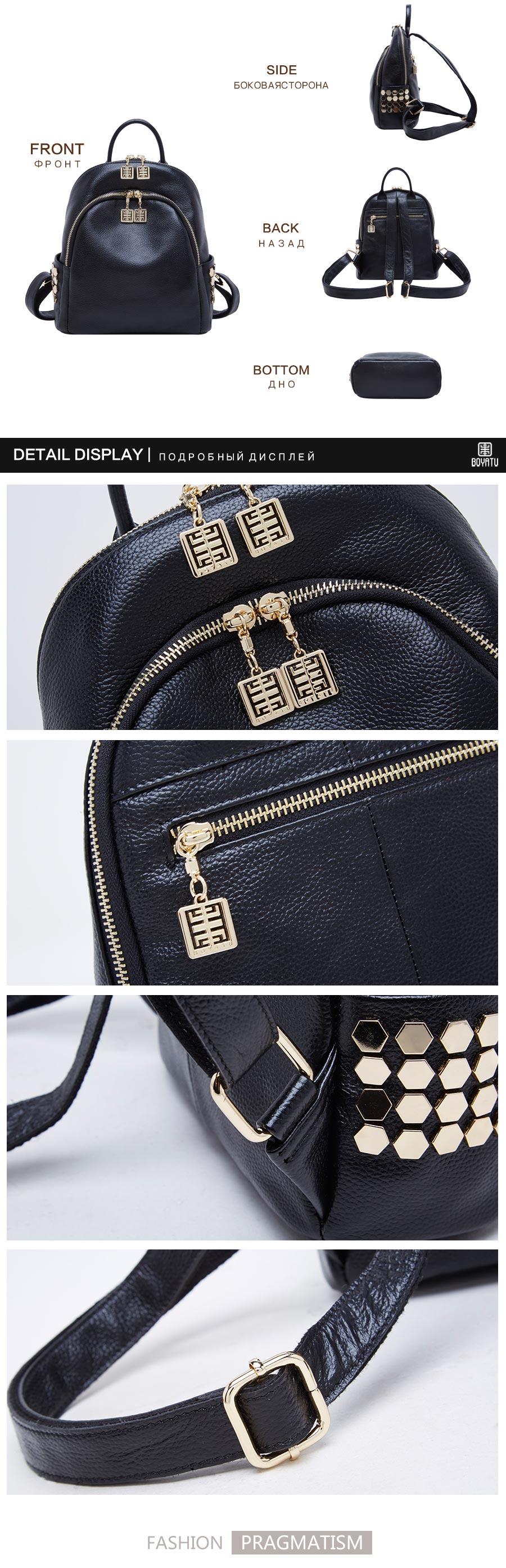 71801_03 BOYATU Designer Backpack Super Zipper Luxury Genuine Leather Backpack Women 2017 Original Muchila Obag Sack Mochila Feminina