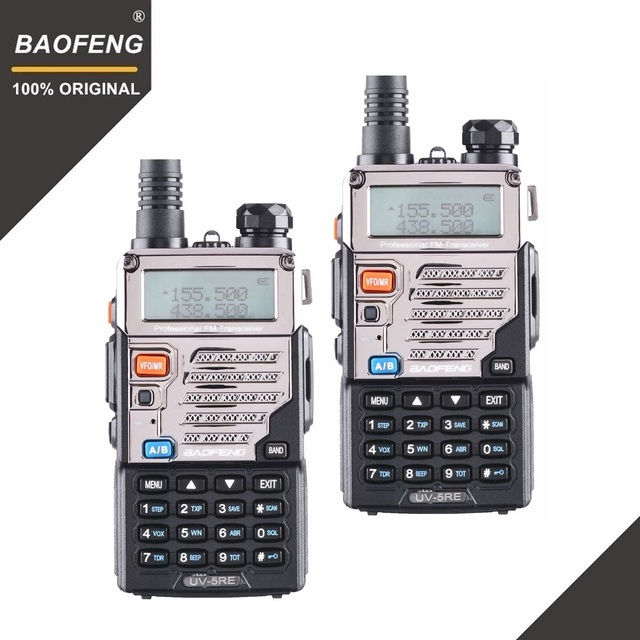 2個baofeng UV 5REトランシーバーデュアルバンド双方向ラジオpofungポータブルアマチュア無線トランシーバUV 5R狩猟ラジオwalkyトーキー