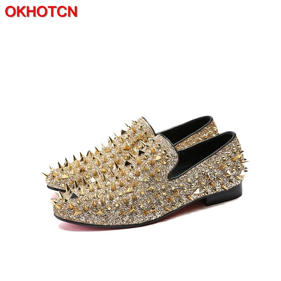 OKHOTCN marque luxe Designer chaussures hommes décontracté appartements coloré or personnaliser chaussures de mariage Rivet clouté à pointes hommes mocassins