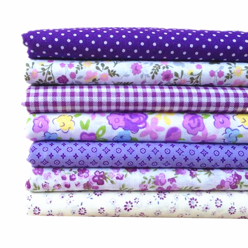 EG/_ 7Pcs Assorted Series Bundle Cotton Quilt Flower Fabric Cloth Sewing Print Co