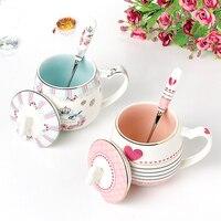 Exquisite pink love heart ceramic cup Beautiful multi color ceramic mug Large capacity Camouflage milk mugs