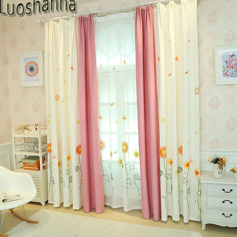 Luoshanna Yellow Sunflower Embroidered Pastoral Floral Curtains ...