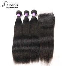 Joedir Peruvian Hair Bundles Прямые волосы 3 комплекта с закрытием 100% человеческие волосы Связки с закрытием Non Remy