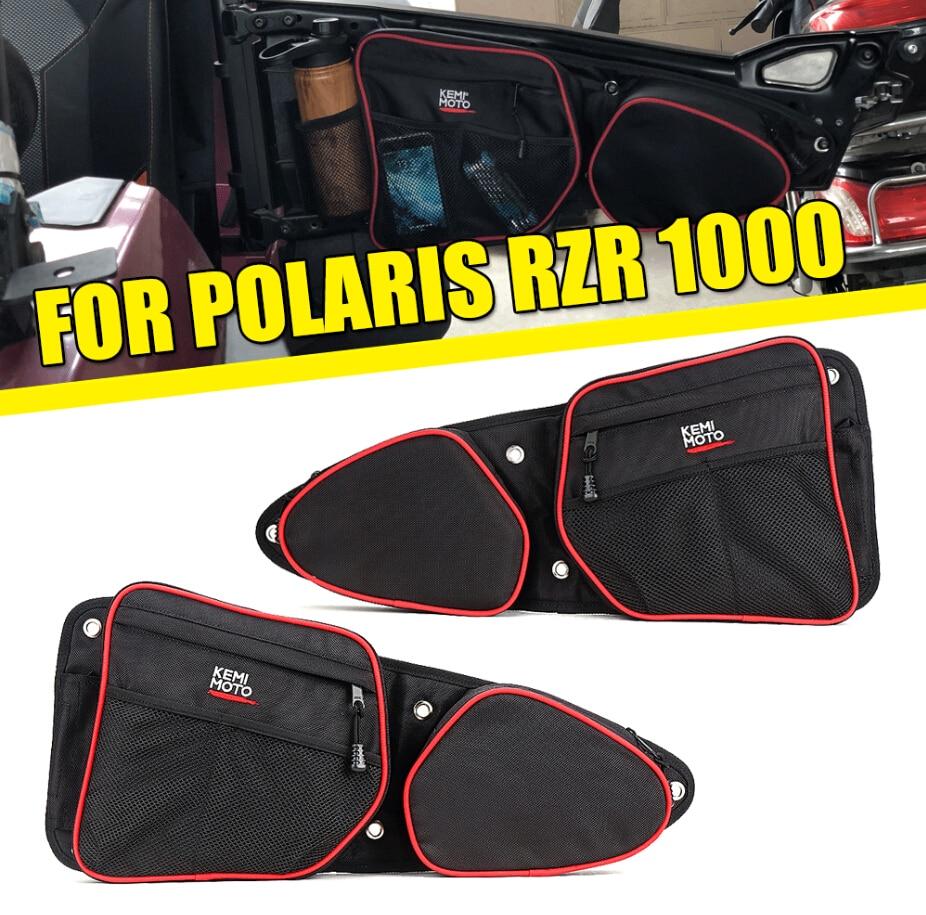 KEMIMOTO Black UTV L & R Passenger Driver Side Storage Door Bags For Polaris RZR 1000 2019-2020