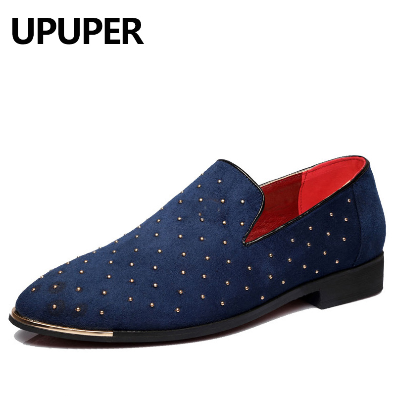 Size:38-48 Men Loafers Moccasins Blue Black Rivet Decoration Wedding Dress Shoes 2018 Fashion Spring Slip-on Flock Boat Shoes fashion tassels ornament leopard pattern flat shoes loafers shoes black leopard pair size 38