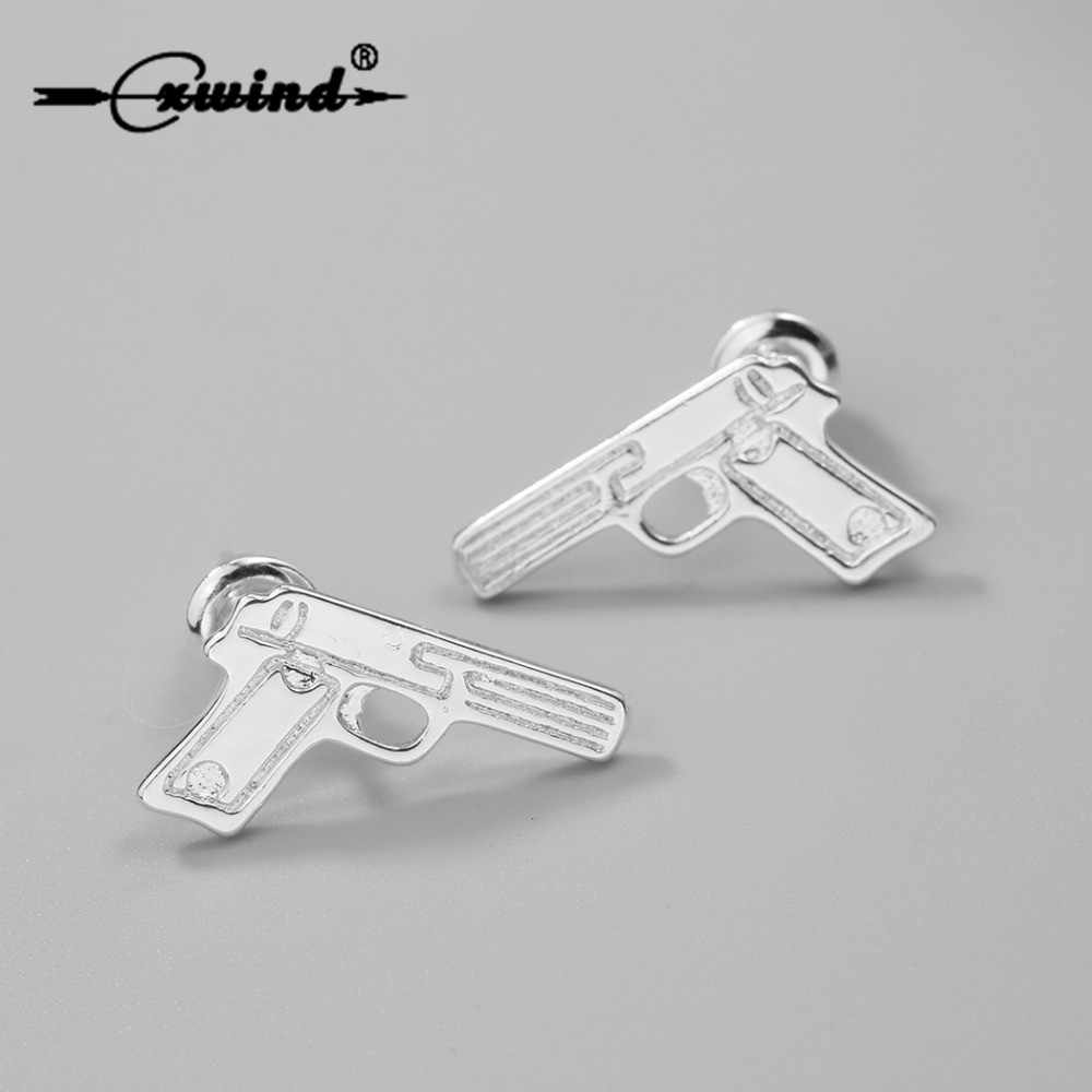 Cxwind Hot Punk Cool Double Gun Men Earrings for Women Party Gold Pistol Earring Ear Studs Unisex Jewelry Wholesale oorbellen