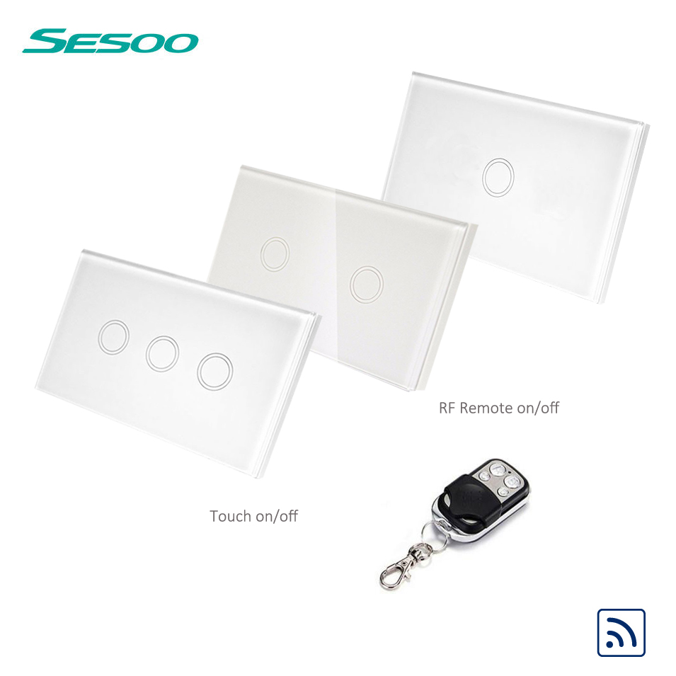 US Standard SESOO Remote Control Switch 1/2/3 Gang 1 Way, RF433 Smart Wall Switch, Wireless Remote Control Touch Light Switch us standard remote control 3 gang 1 way touch panel rf 433 smart wall switch wireless remote control light switch for smart home