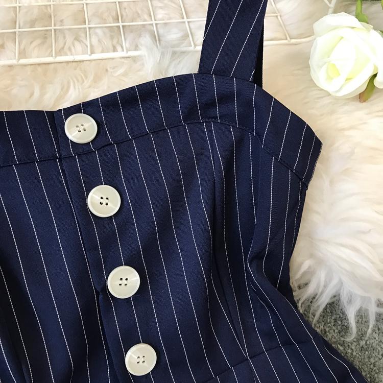 2019 Spring and Summer Korean New Stripe High Waist Open-back Jumpsuit Women Sleeveless Broad-legged Overalls G794 40