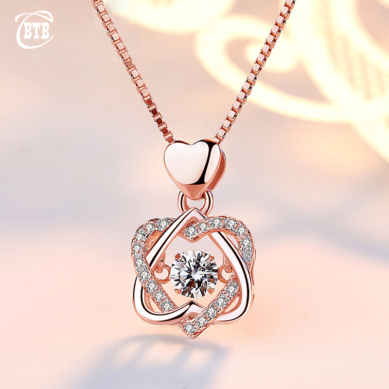 Fashion Romantic Double Heart Flower Pendant Necklace