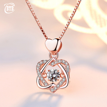 Fashion Romantic Double Heart Flower Pendant Necklace with Zircon Rose Gold/Silver Color Necklace