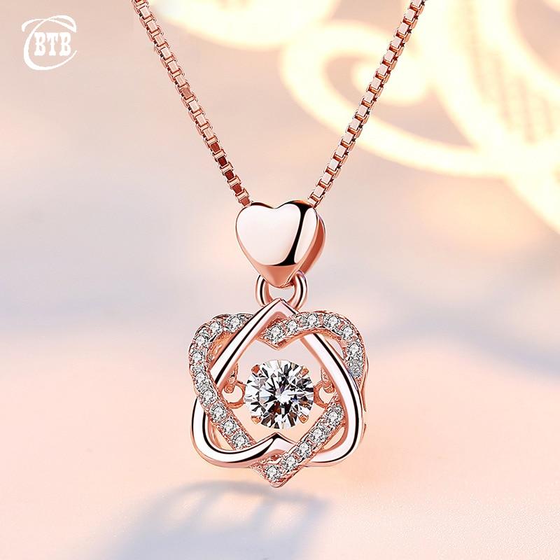 Mode Romantische Doppel Herz Blume Anhänger Halskette mit Zirkon Rose Gold/Silber Farbe Halskette Für Frauen Schmuck