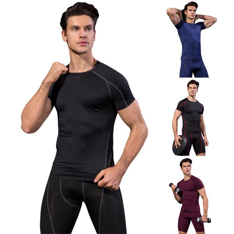 running - Summer sports Men\'s Breathable Skinny Short Sleeve Fitness Sports Running Training Stretch Quick Dry T-Shirt