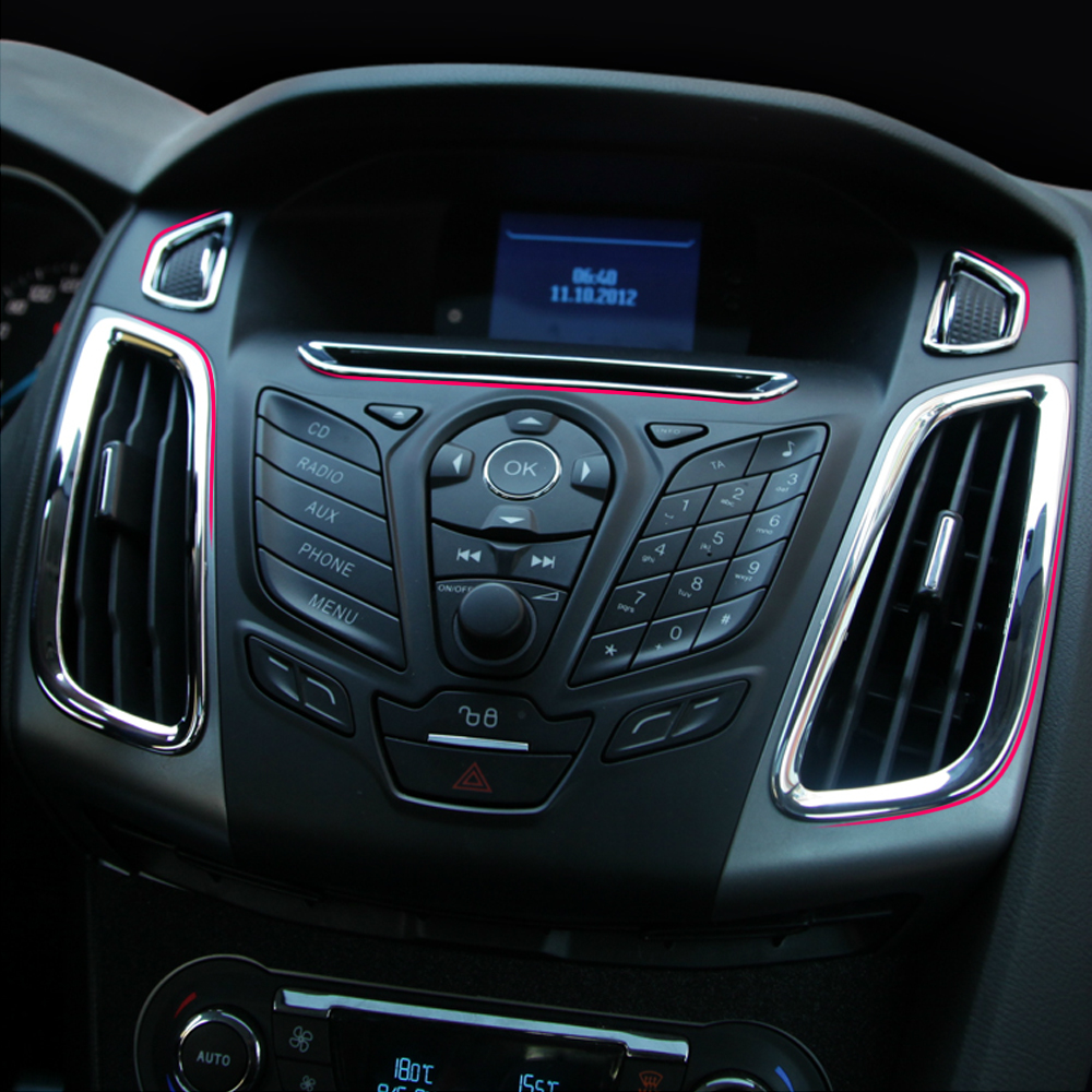 Car styling car accessorie abs chrome interior outlet decoration ring 5pcs set for ford focus 3 mk3 st rs 2012 2013