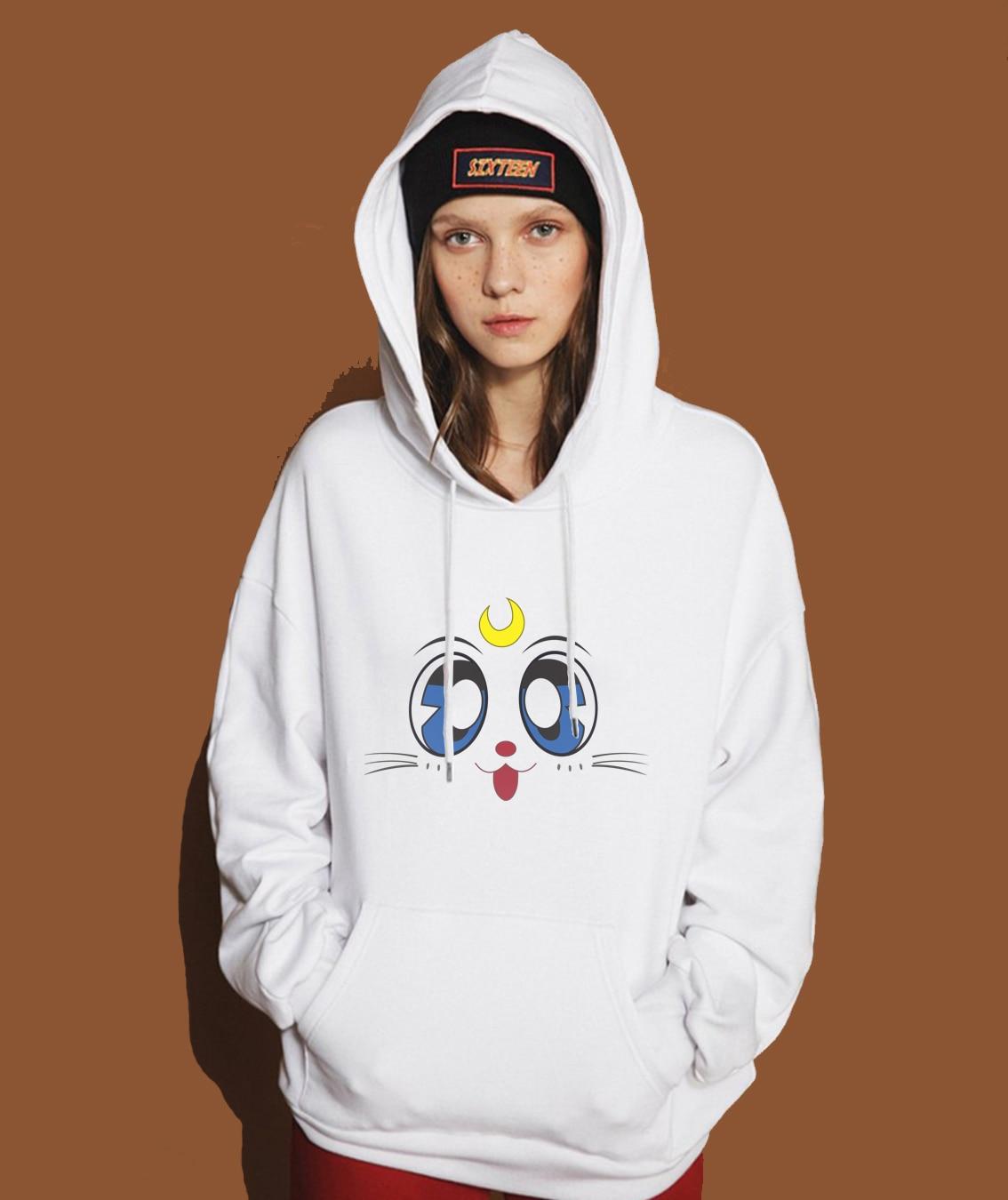 New Arrival Hot Female Sweatshirt 2019 Spring Winter Fleece Brand Clothing Hoodies For Women Hip Hop Streetwear Cute Sailor Moon