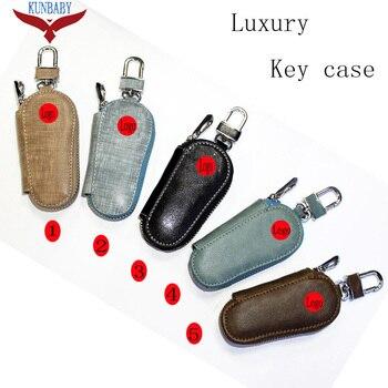 KUNBABY 10pcs/lot Model 21 Genunie Leather Car Key Case Cover Key Holder Key Wallet for Benz Audi Subaru Skoda Toyota Honda Ford