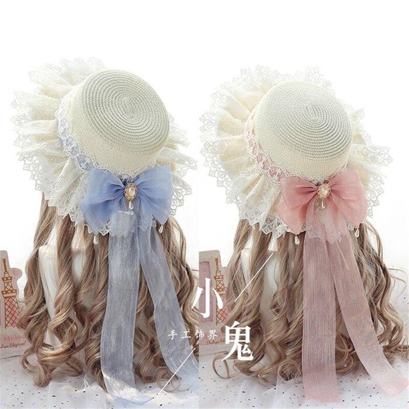 Kawaii Princess Mori Girl Summer Straw Hats Women Beach Sun Hat Japanese Lolita Lace Bow Ribbon Round Flat Top Female Headwear