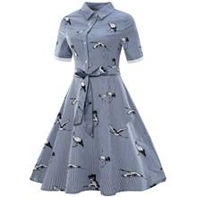 2019 Summer Plus Size Women Turn Down Collar Vintage Dress Stripe Print Shirt Dress Short Sleeve A-Line Dress