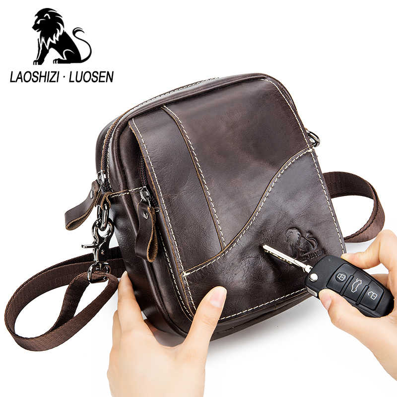 Real Cow Genuine Leather Men Messenger Bag Brand Casual Small Men's Crossbody Bags Business Double Zipper Bags Male Casual Flap