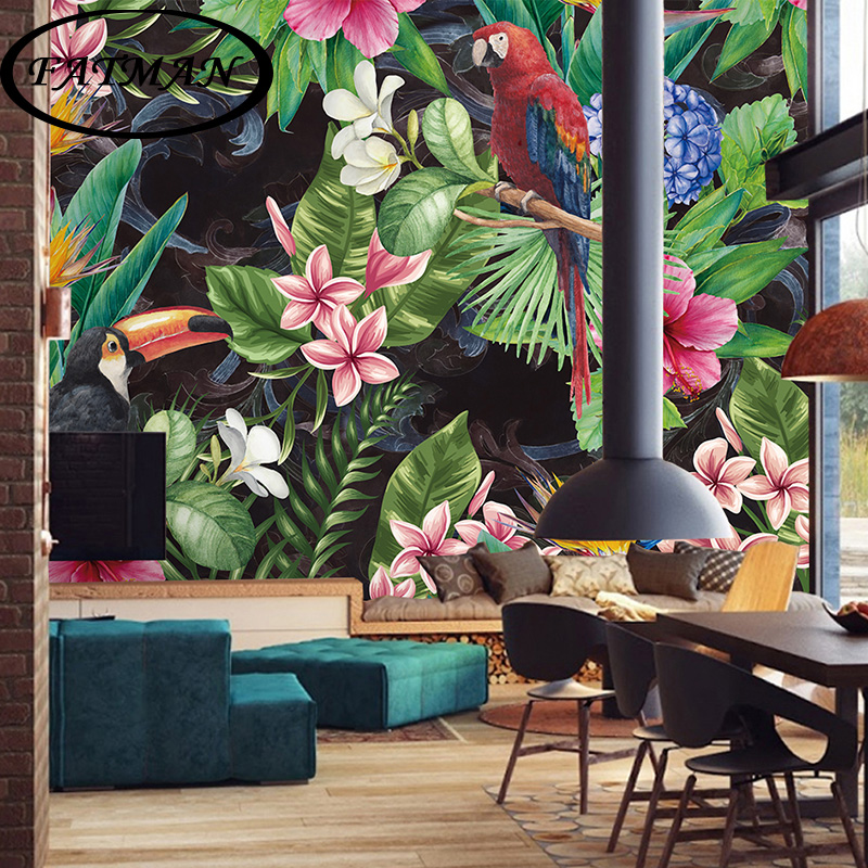 Custom photo wallpaper retro Flower blossom Wallpaper mural Thai restaurant sofa background 3D large wallpaper mural custom photo wallpaper large mural retro old newspaper english letter bar hot pot restaurant background wall wallpaper mural