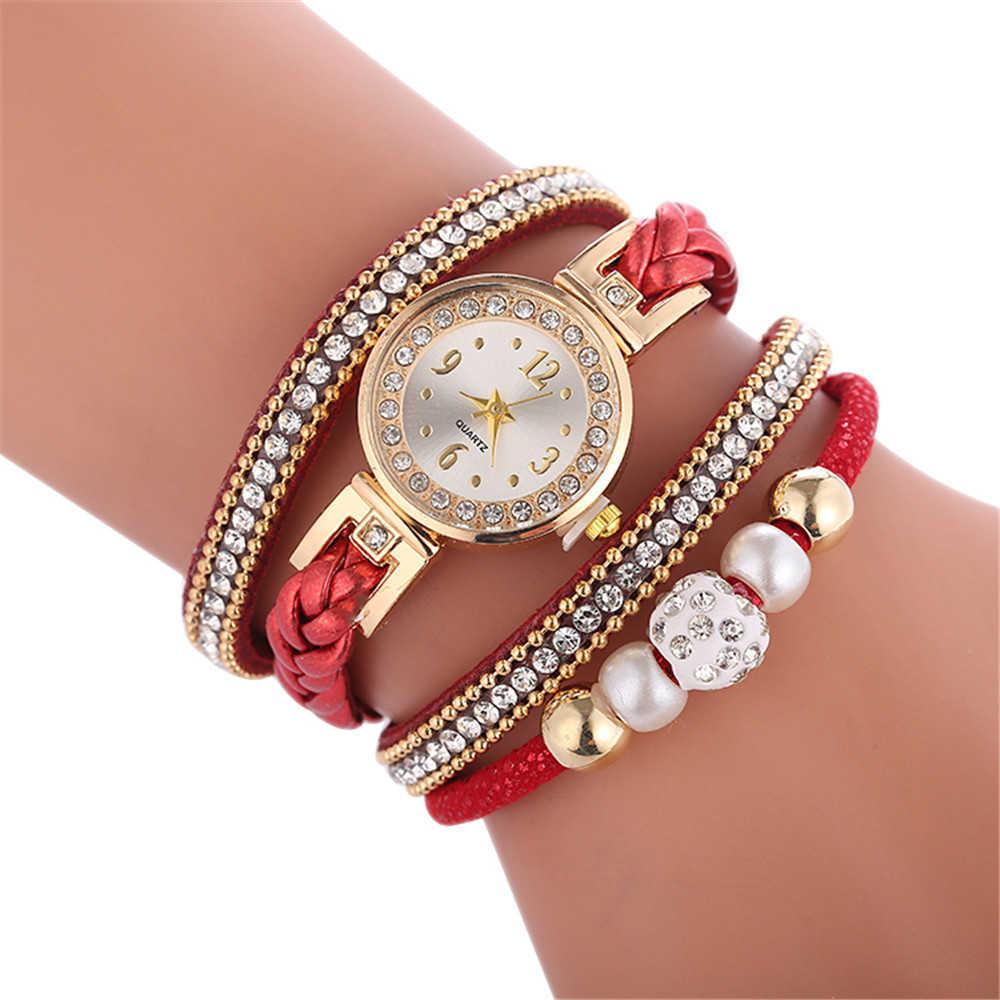 높은 품질 아름 다운 패션 여성 팔찌 시계 숙 녀 시계 캐주얼 라운드 아날로그 석 영 손목 팔찌 시계 여성 시계