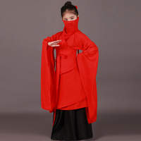 6 PCS Child Chinese Traditional Costume Red Girl Hanfu Clothing Big Sleeve Chinese Folk Costume Ancient Tang Dynasty Clothing 89