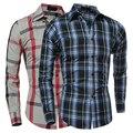 ! Outono Inverno Moda Casual Xadrez Camisa de Manga Longa do homem Slim Fit Roupas Camisas de Flanela