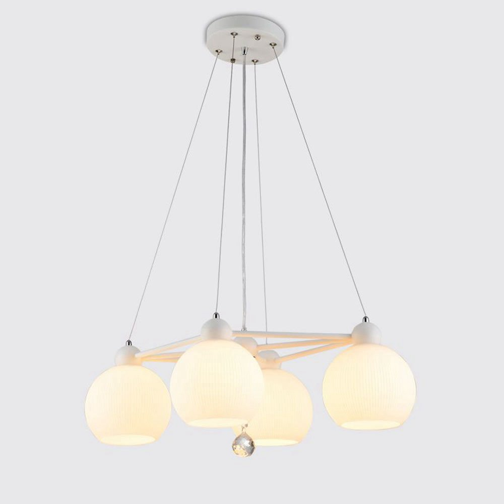 Modern Dining Room Glass Pendant Lights Metal Crystal Bar Counter Creative Pendant Lamp White Glass Balcony Hanging Fixtures