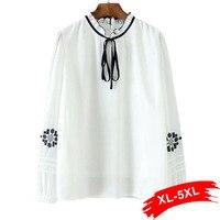Plus Size Ruffle Collar Embroidery White Blouse Shirts Women 4Xl 5Xl Elegant Lady Silk Ribbon Tie