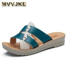 MVVJKE Summer Comfortable Leather Slippers Platform Med Wedges Slides Metal Buckle Casual Women Shoes Large Size 35-41