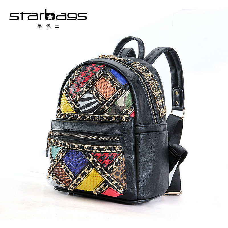 star bags cool bag hit-color Stitching zipper fashion backpacks brand genuine leather backpack women stylish women s hit color spaghetti strap blouse