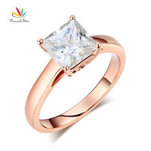 Peacock Star 14K Rose Gold 1 Carat Moissanite Diamond Wedding Engagement Ring Fine Bridal Jewelry