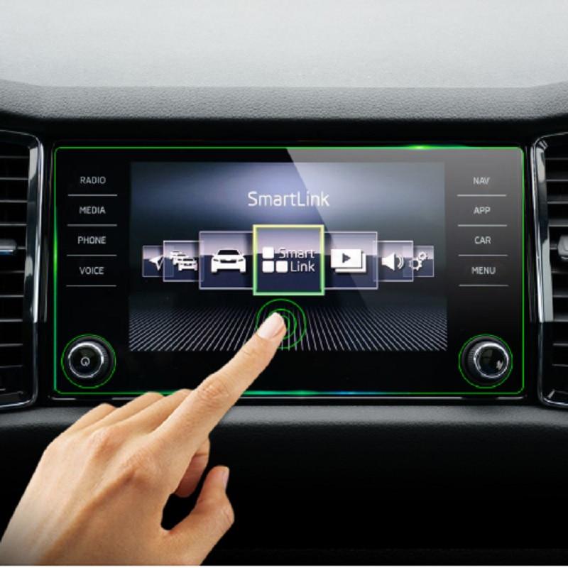 KEMiMOTO Stahl 8 zoll Für Skoda Kodiaq Karoq 2017-18 Display-schutzfolie Auto GPS Navigation Gehärtetem Glas Bildschirm protector