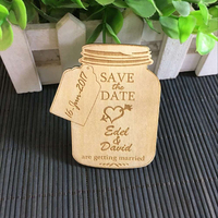 Jar Save The Date Magnet Rustic Wedding Favor Engraved Wooden Wedding Decoration Wood Magnets Bridal Shower